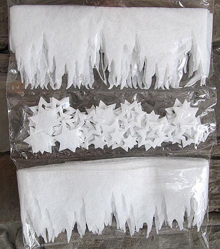 set 2 stk mini eiszapfen 200 cm x 10 cm und ca 50 sterne aus vliesmatte ca 2 mm dick. Black Bedroom Furniture Sets. Home Design Ideas